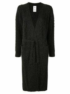 Maison Mihara Yasuhiro cable-knit long cardi-coat - Grey