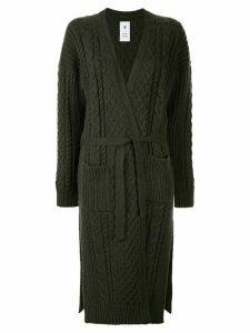 Maison Mihara Yasuhiro cable-knit long cardi-coat - Green