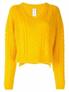 Maison Mihara Yasuhiro cable-knit cropped jumper - Yellow