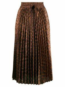 Red Valentino RED(V) metallic jacquard accordion pleat skirt - Brown