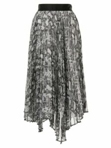 Le Ciel Bleu asymmetric snake-print pleated skirt - Multicolour
