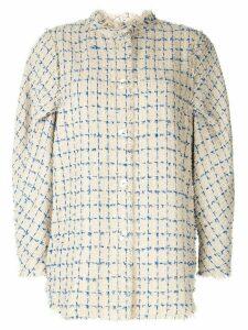 Irene mole fur tweed shirt jacket - Yellow