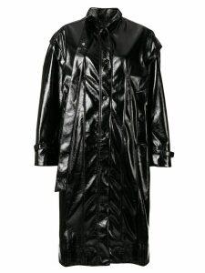 Irene patent style coat - Black