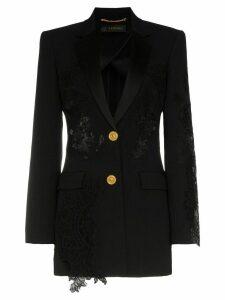 Versace lace-panelled blazer - Black