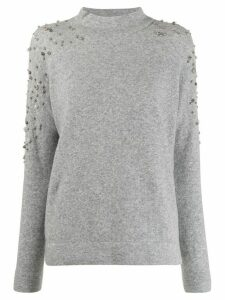 Snobby Sheep funnel neck embellished top - Grey