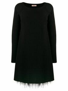 Twin-Set feather hem knitted dress - Black