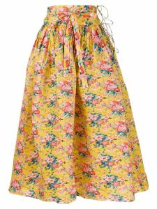 Horror Vacui floral printed flared skirt - Yellow