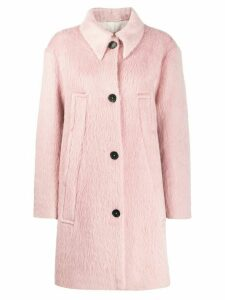 Rochas textured single-breasted coat - Pink