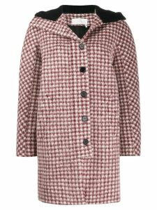 Chloé checked hooded coat - Red