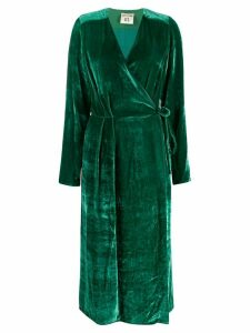 Semicouture V-neck silk wrap dress - Green