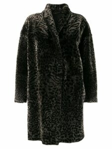 Salvatore Santoro animal print coat - Black