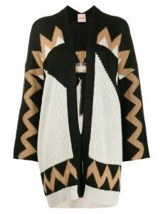 Nude Aztec pattern knit cardigan - Black