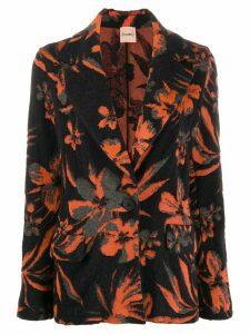 Nude floral knit blazer - Black