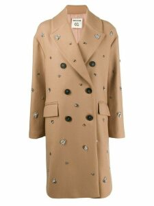 Semicouture embellished double-breasted coat - Neutrals