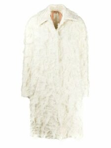Nº21 textured single breasted coat - White