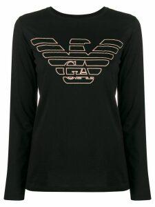 Emporio Armani textured logo long-sleeve T-shirt - Black