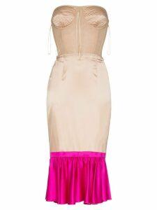 Duran Lantink two tone silk corset dress - Neutrals
