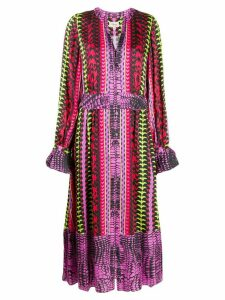 Temperley London button down printed dress - PURPLE