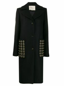 Mulberry rounded stud embellished coat - Black