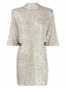 Patrizia Pepe short-sleeve embellished dress - Silver