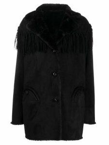 Blazé Milano fringed trim single-breasted coat - Black
