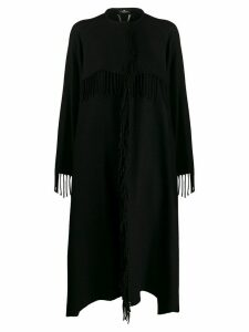 Elisabetta Franchi oversized knitted logo coat - Black