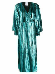 Black Coral Ava metallized wrap dress - Blue