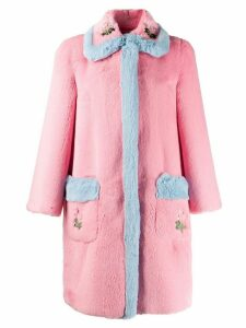 Vivetta faux-fur embroidered coat - Pink