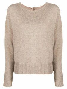 LIU JO crew-neck knit sweater - NEUTRALS