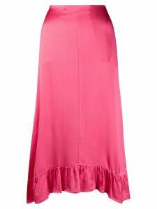 Semicouture ruffle trimmed midi skirt - PINK