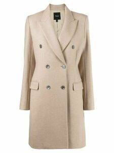 Theory double-breasted twill coat - NEUTRALS