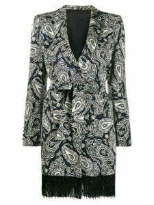 Blazé Milano longline paisley print blazer - Black