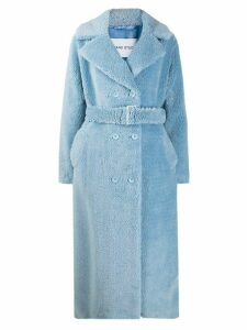 STAND STUDIO double-breasted belted coat - Blue