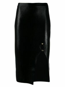 Versace Jeans Couture laminated-texture midi skirt - Black