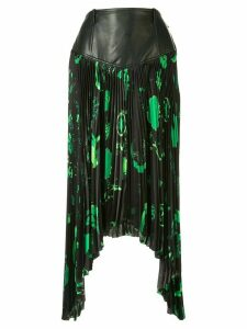 Marine Serre Shamanic asymmetric pleated skirt - Green