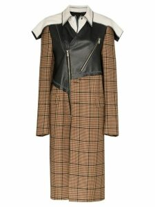 Duran Lantink contrast checked trench coat - Brown
