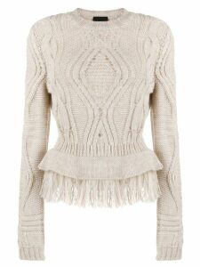 Just Cavalli cable knit fringed jumper - Neutrals