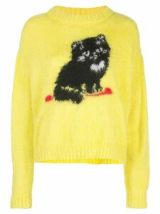 Ashley Williams cat embroidered sweater - Yellow