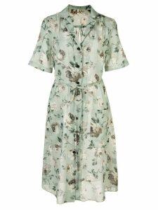 R13 floral short-sleeve shirt dress - Green