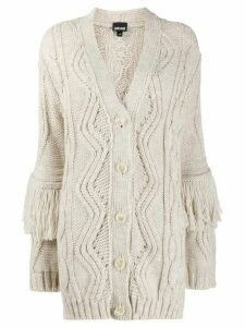 Just Cavalli fringed chunky knit cardigan - Neutrals