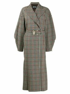 Just Cavalli belted checked coat - Brown