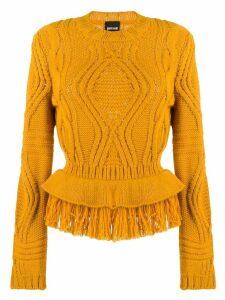 Just Cavalli cable knit fringed jumper - ORANGE