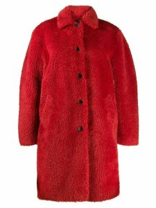 PS Paul Smith single-breasted faux-fur coat - Red