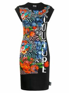 Versace Jeans Couture Optical Flowers-print mini dress - Black