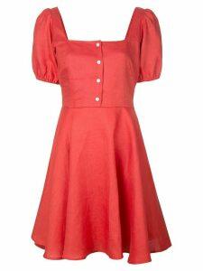 Callipygian button down mini dress - Red