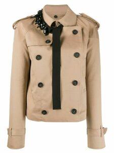 Nº21 embellished detail short trench coat - Neutrals