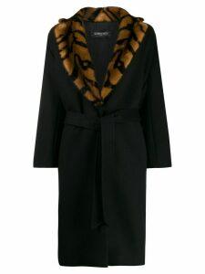 Simonetta Ravizza Ceci contrast collar coat - Black