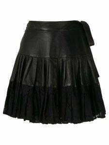 Andrea Bogosian Piter ruflle leather skirt - Black