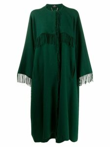 Elisabetta Franchi fringed oversized midi coat - Green