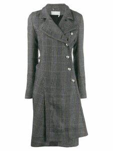 Chloé asymmetric checked coat - Grey